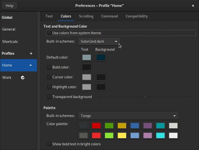 GNOME Terminal preferences