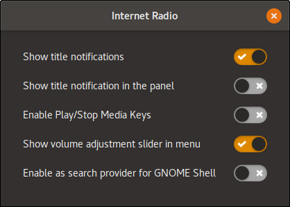 GNOME Internet Radio Settings