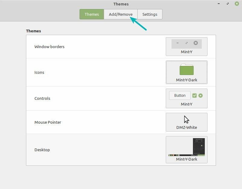 Theme Applet provides an easy way of installing and changing themes