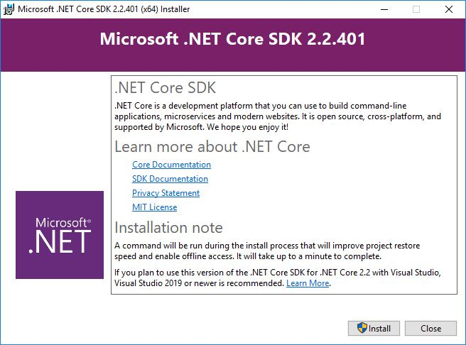 Installing dotnet on Windows