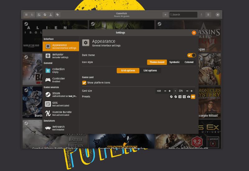Gamehub 界面选项