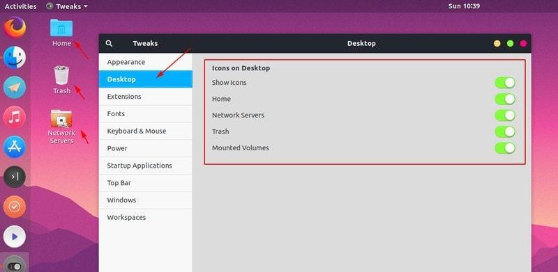 在 Ubuntu 中控制桌面图标