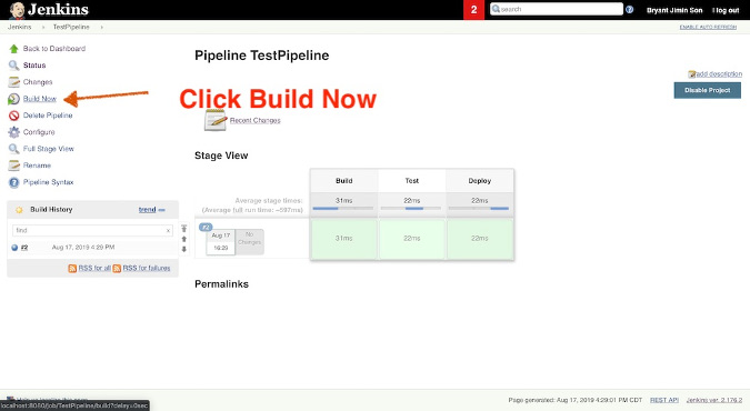 Click Build Now and See Result