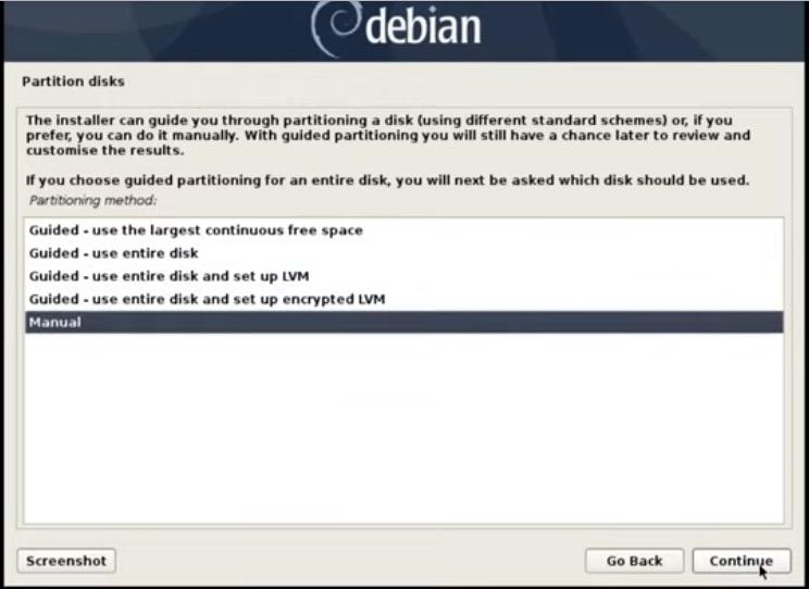 选择手动-Debain10