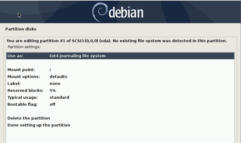 选择 Ext4 日志文件系统-debain10