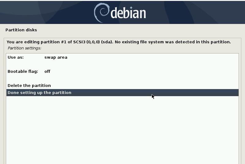完成此分区设置-debian10