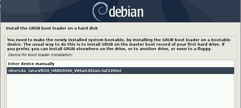 选择硬盘-安装 grub-Debian10