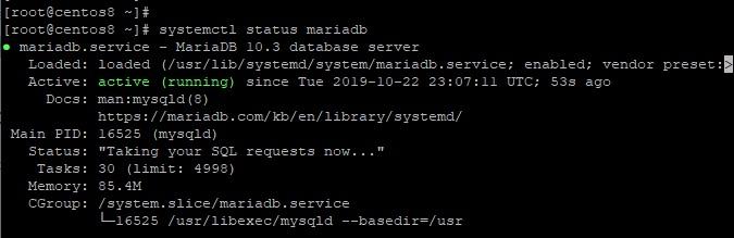 Check-MariaDB-status-CentOS8