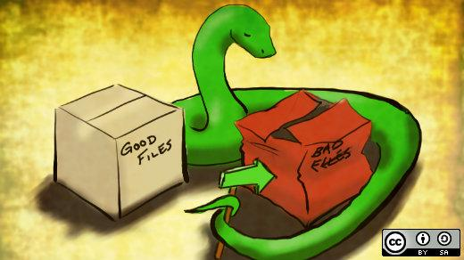 A python with a package.