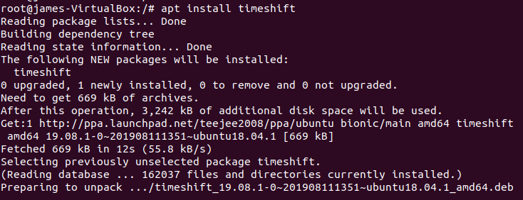 apt install timeshift