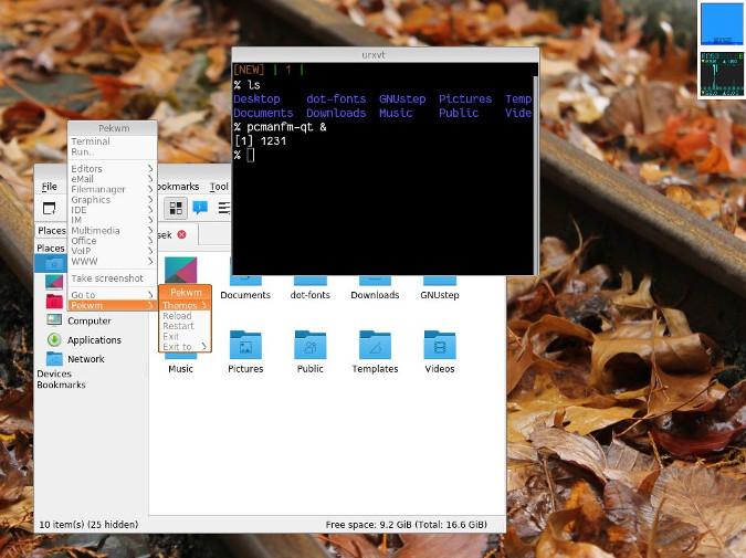 Pekwm running on Fedora