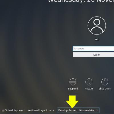 Selecting your desktop in KDM