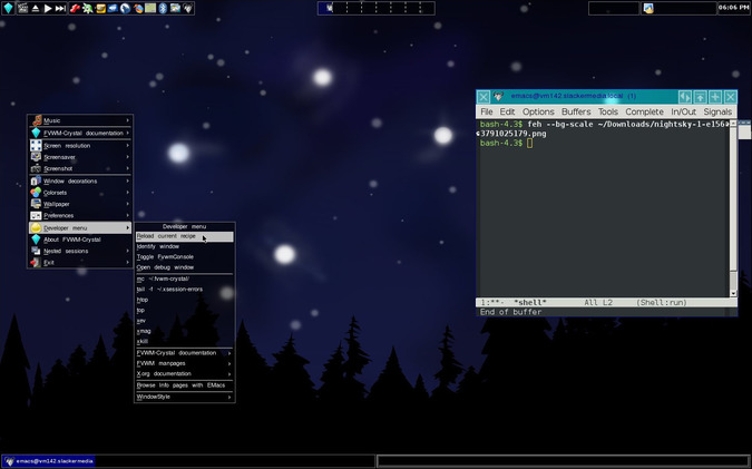 FVWM-crystal running on Slackware 14.2