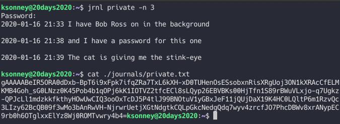Encrypted jrnl file