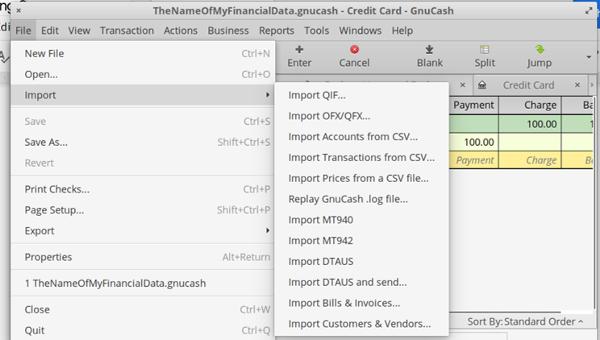 GnuCash import data