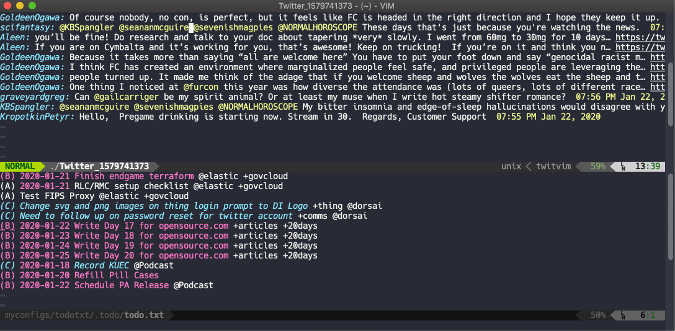 to-dos and Twitter with Vim