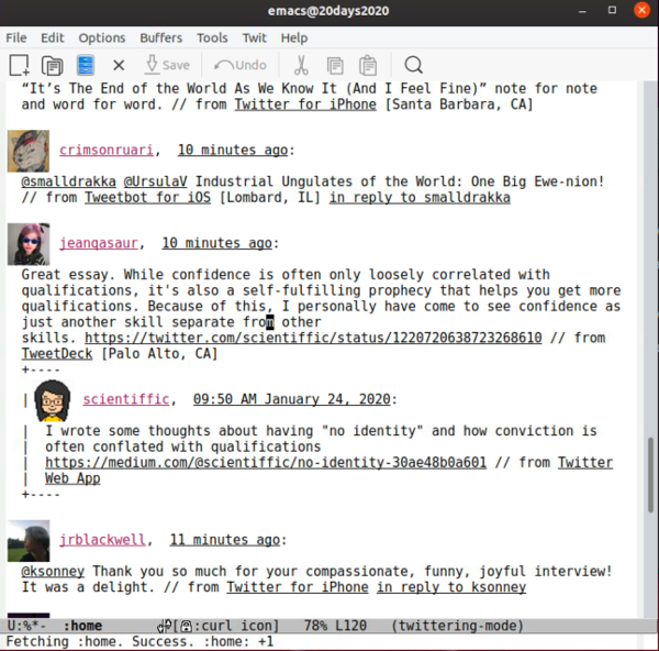 Emacs 中的 Twitter