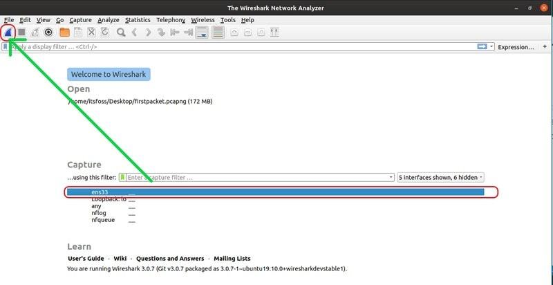 Start capturing packets with Wireshark