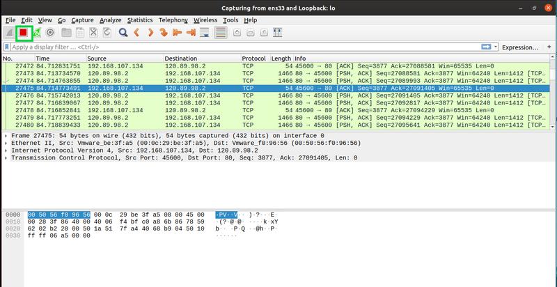 Stop packet capture in Wireshark