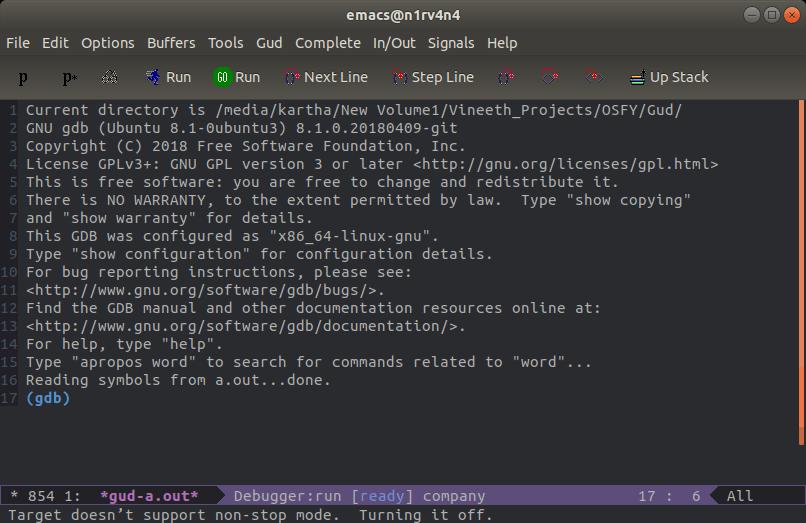 图 4: Emacs 中的 GDB 缓冲区