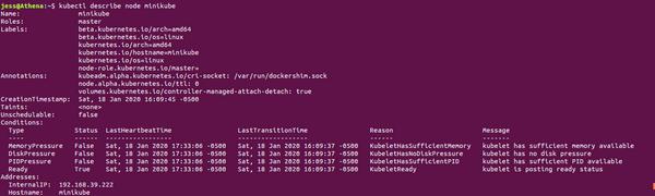 output of kubectl describe node