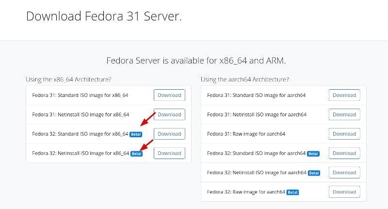 Fedora Download Beta