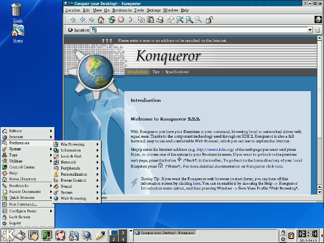 KDE 2.2.2 \(2001\) showing the Konqueror browser