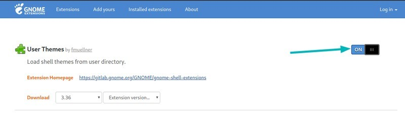 Enable User Themes GNOME Extension