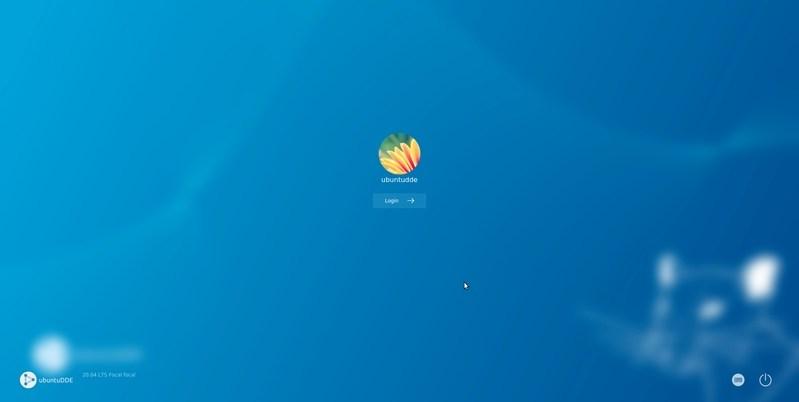 Ubuntu Deepin Edition login screen
