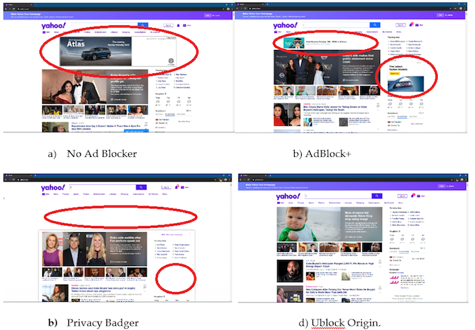 Ad blocker screen comparison