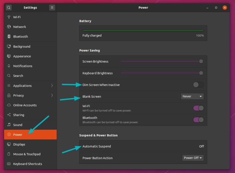 Ubuntu 20.04 的电源设置