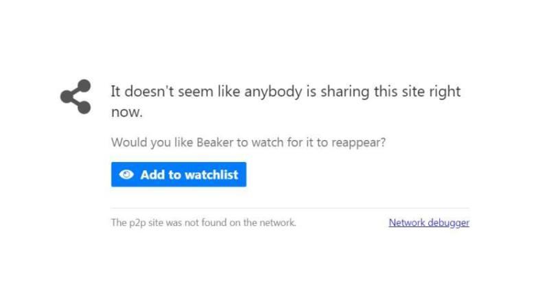 Beaker Browser No Peer