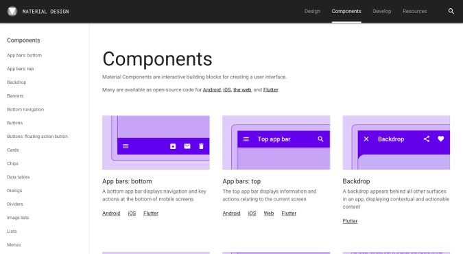 Material Components webpage