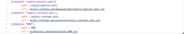 Screenshot of .gitmodules file