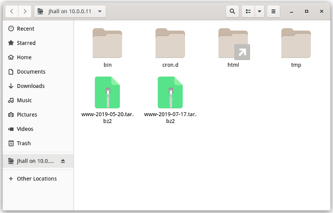 GNOME file manager connection