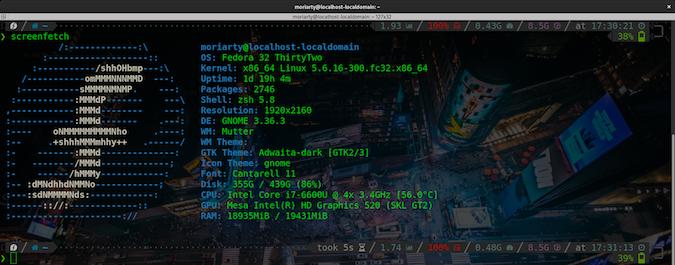 terminator terminal shot via screenFetch