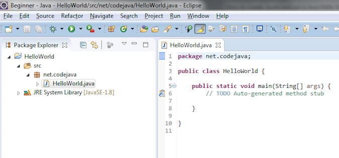 Eclipse IDE screenshot