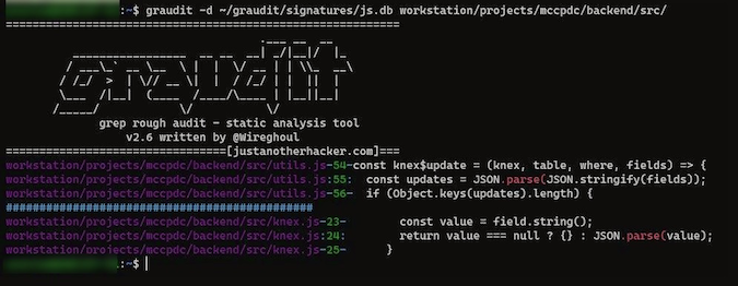 JavaScript file showing Graudit display of vulnerable code