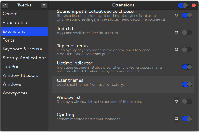 Enable User Themes Extension