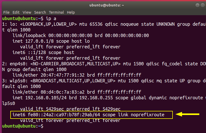 IPv6 Address Ubuntu