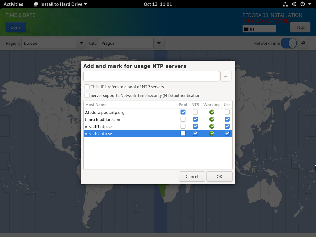 Fedora 安装程序中的网络时间配置