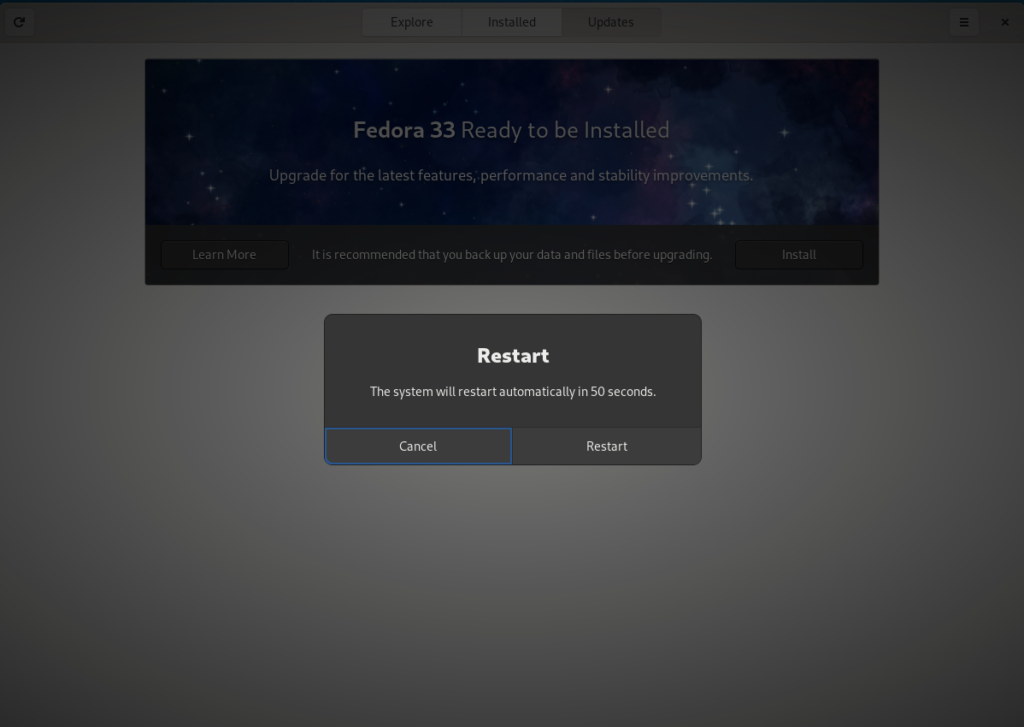Restart is needed to rebase to Fedora 33 Silverblue