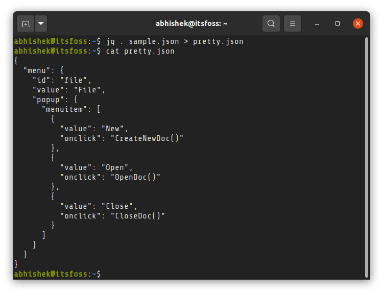 Pretty printing JSON file in Linux Terminal