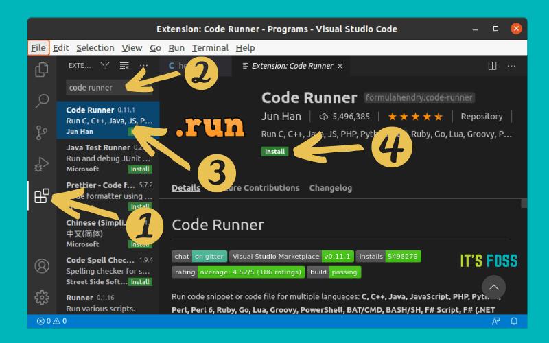 安装 Code Runner 扩展来运行 C/C++ 程序