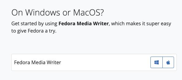 Fedora Media Writer 下载界面