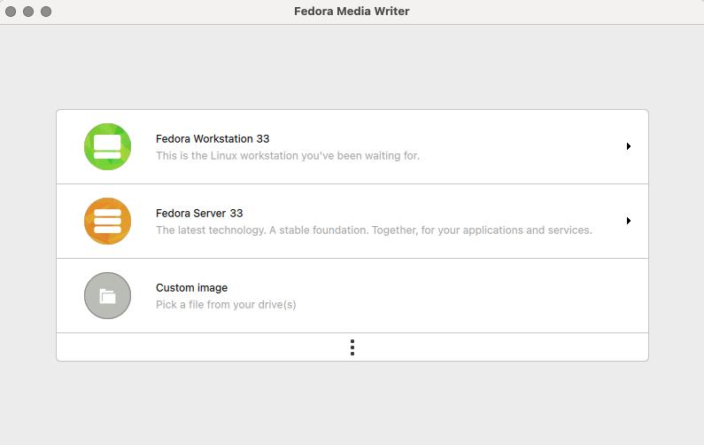 在 Fedora Media Writer 中下载 Fedora Workstation