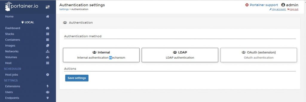 Authentication-Portainer-GUI-Settings