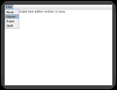带有单个下拉菜单的白色文本编辑器框,有 File、New、Open、Save 和 Quit 菜单