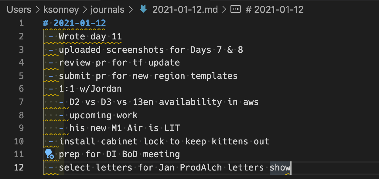 Today's journal