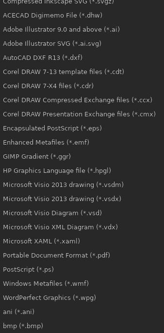 可用的 Inkscape 文件格式